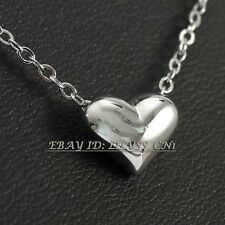 Fashion Silver No Stone Love Heart Charm Necklace Pendant 18KGP