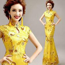 Mermaid Prom Bride Wedding Chinese Cheongsam Gold Embroidery Ball Gown Dress