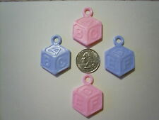 48 Mini Plastic Baby Blocks Pink or Blue ABC DEF Baby Shower Favors Charms