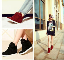Fashion Women Strap Sneaker Wedge Canvas Shoes High Top Hidden Heels Ankle Boots