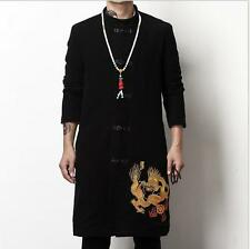Chinese Men's Dragon Cotton Linen kung-fu Jacket Coat Leisure gown