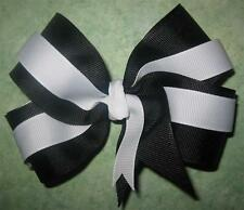 "Black White Boutique Hair Bow 2 Tone Large 5"" Girls Baby Hairbows Toddler Clip"
