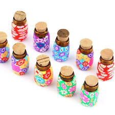 5/10 pcs Mini Glass Polymer Clay Colorful Bottles Containers Vials With Corks