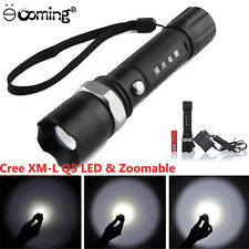 3000LM  Adjustable Focus Torch Q5 LED Zoomable Flashlight 18650 Battery+Charger
