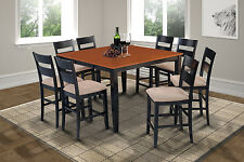 """54"""" SQUARE COUNTER HEIGHT TABLE DINING ROOM SET IN BLACK & CHERRY"""