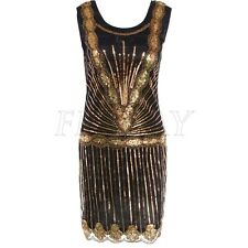 Women Vintage 1920s Gatsby Sequin Beaded Scalloped Hem Flapper Dress Party Gown