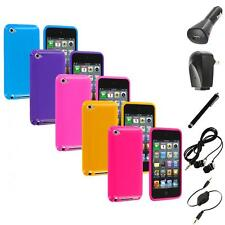 Solid Jelly Gel TPU Rubber Case Cover+Accessories for iPod Touch 4th Gen 4G 4