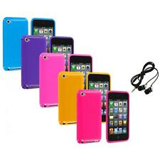 Solid Jelly Gel TPU Rubber Case Cover+Headphones for iPod Touch 4th Gen 4G 4