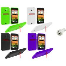 Color Silicone Soft Skin Case Cover+Dual Charger for HTC EVO 4G LTE Sprint