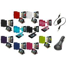 For iPod Touch 4th Gen 4G Wallet Leather Pouch Cover Case Holder+Aux+Charger