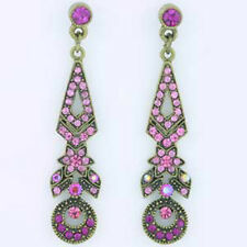 "ICON 2"" PINK BLUE MULTI GOLD BLACK RED CRYSTAL DROP CUSHION SILVER EARRINGS NEW"