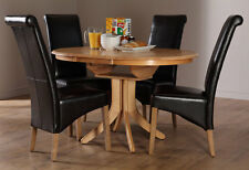 Hudson & Boston Round Extending Oak Dining Table and 4 6 Chairs Set (Black)