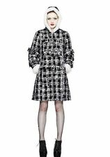 Hell Bunny Celina Winter Coat White Fur Tartan Skull Bow Vintage Rockabilly