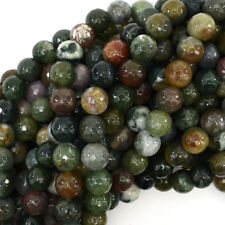 "Faceted Indian Agate Round Beads Gemstone 15"" Strand 4mm 6mm 8mm 10mm 12mm"