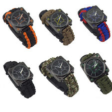 New Paracord Outdoor Survival Watch Bracelet Compass Flint Fire Starter Kits