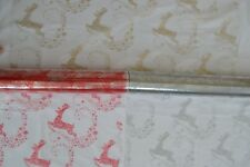 Festive CHRISTMAS cellophane present gift wrapping REINDEER GOLD RED SILVER