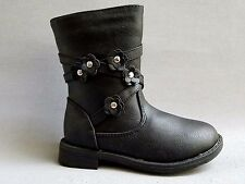 NEW Kids Girls Little Angel Maisy799D Faux Black Leather Side zip Riding Boots