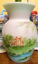 Fenton Art Glass**GEORGE WASHINGTON LOTUS MIST BURMESE VASE**NIB*QVC 2010