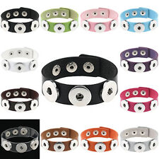 Men Women Unisex Band PU Leather Bracelet Fits Metal Snap Press Buttons Gothic