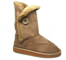 """Womens Mid Calf Boots 10"""" Tan Beige Microsuede One Button Size 5 - 11 NWB"""