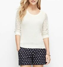 NWT ANN TAYLOR Ivory Romantic Lace Sleeves Cotton Sweater Sizes M