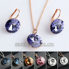A1-S122 Fashion Simulated Gemstone Earrings Necklace Jewelry Set 18KGP Crystal
