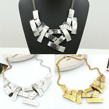 Fashion Women Collar Chain Geometric Blocks Of Irregular Statement Bib Necklace