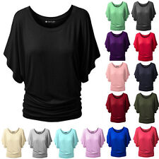 LIUS Womens Boat Neck Batwing Sleeve Casual Dolman Tank Tops T-Shirts
