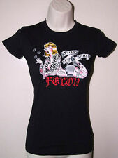 New Felon Lucky 13 Psychobilly Rockabilly Punk Rock Pin Up Girl Black T Shirt