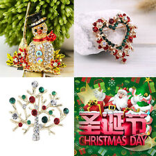 Fasion Christmas Snowman/Tree/Peach Heart Ring Red Green Brooch Pin