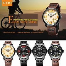 EYKI  Fashion Men's Men PU Leather Leisure Quartz Analog Wrist Watch