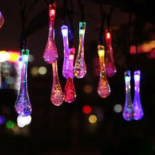 20 LED Solar Fairy String Lights Rain Drops Outdoor Garden Patio Party Xmas Yard