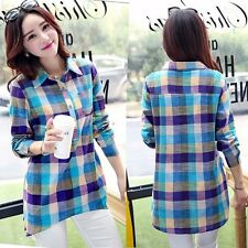 New Fashion Casual Women Long Sleeve Lapel Long Plaid Shirt Blouse