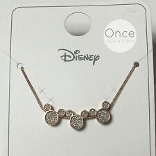 Official DISNEY CRYSTAL TRIPLE MICKEY MOUSE Neckalce