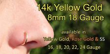 14K Yellow Gold Filled Nose Ring/Hoop Earring 18 Gauge 8mm Tragus/Helix/Endless