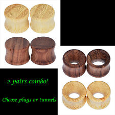 Combo 4pcs Kit-Ear Gauges-Organic Wood Ear Plug-Hollow/Solid Tunnel Double Flare