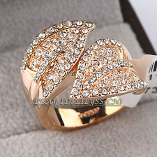 Fashion Leaf Band Ring 18KGP CZ Rhinestone Crystal Size 5.5, 6, 6.5