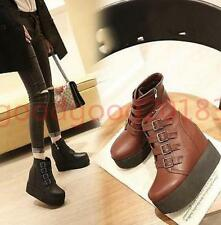 Womens Punk Buckle Platform Wedge Heels Gothic Ankle Boots Party Shoes Plus Size