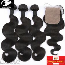 Brazilian Body Wave Virgin Human Hair Extensions Remy Weave Weft 7A Closure U816