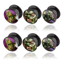 Pair of Green Goblin Logo Acrylic Plugs Screw Fit Tunnels 4G-1""