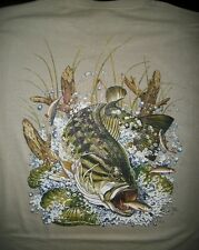Fishing T Shirt Large Mouth Bass Bait Lure Lake Boat Fresh Water Catch Angler