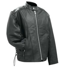 MENS MOTORCYCLE COWHIDE SOLID LEATHER JACKET w/ POCKETS SIDE LACES FULLY LINDED