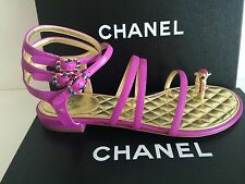 CHANEL Pink CC JEWELED GLADIATOR LEATHER SANDALS SHOES FLATS 38; 40 $1,250