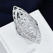 Fashion Cute Silver Plated Metal Filled Hollow Big Ring Ladies Women Rings Hot