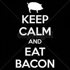 T Shirt Keep Calm And Eat Bacon Pancake Food Breakfast BLT Pork Fat Meat Eggs