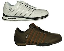 MENS NEW K.SWISS RINZLER ARVEE LACE UP TRAINERS FOOTWEAR IN WHITE BROWN COLOURS