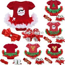 3PCS My First Christmas Baby Infant Outfit Set Costume Fancy Tutu Dress Clothes