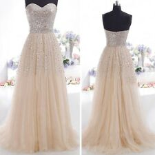 New Sexy Women Strapless Sequins Cocktail Party Ball Gown Evening Long Dress