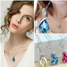 Stylish Women Rhinestone Crystal Silver Necklace Love Teardrop Elegant Jewelry