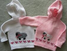 NEW! Hand Knit Baby Lamb & Hearts Sweater back zipper 6 or 12 month Pink White